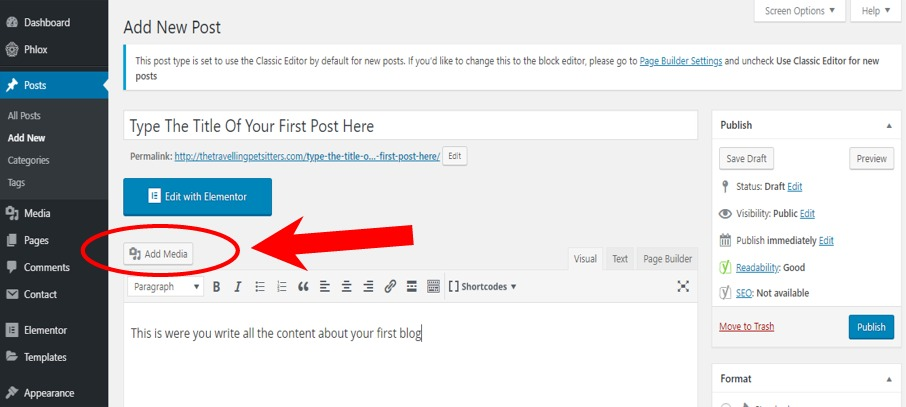 Adding an image to your blog post